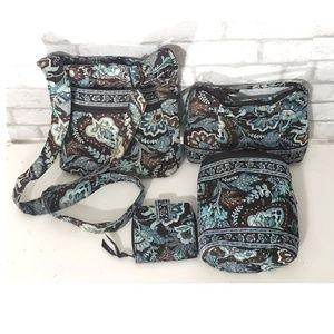 Set of 4 Vera Bradley Bags/Wallet Java Blue Print